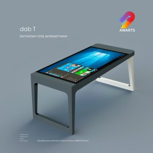 A brand new product. dab-T, a table with a touchscreen and a computer inside.