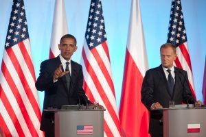President of the United States of America visiting Poland AND using Awarts lectern