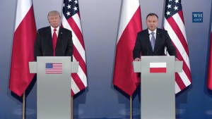 President of the USA holds a joint press conference with President of Poland using AWARTS lectern