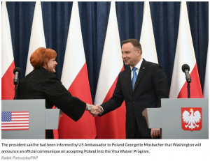 The President of Poland and US Ambassador using our lecterns